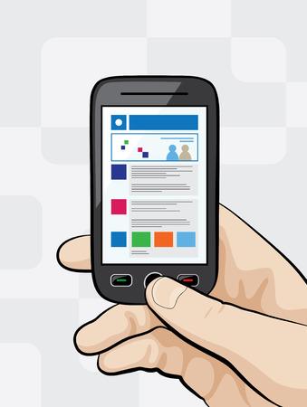 Illustration eines Smartphones mit mobilen Website auf `s Anzeige Standard-Bild - 39106367