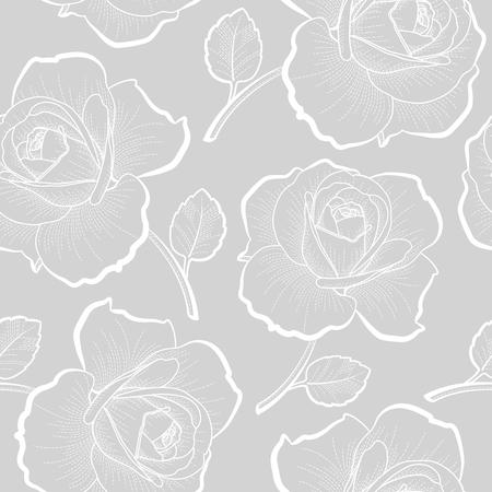 灰色の背景のシームレスなパターンのアウトラインを白バラ