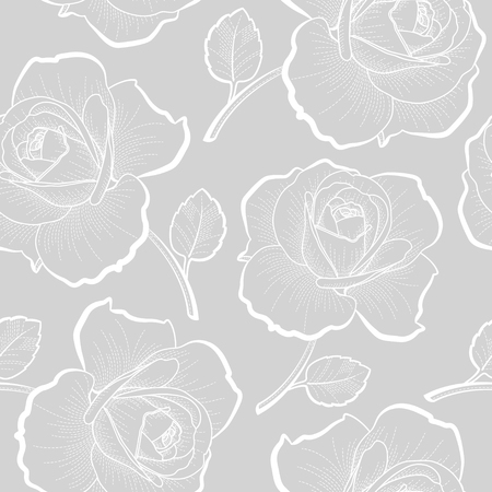 White outline roses on gray background seamless pattern