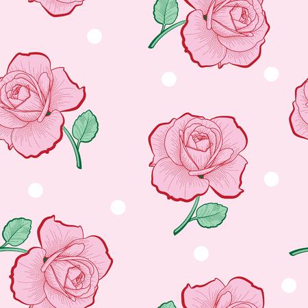 ピンクのバラとピンクの背景のシームレスなパターンに白いドット