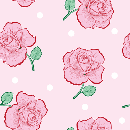 Pink roses and white dots on pink background seamless pattern