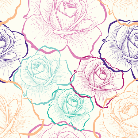 Color outline roses on white background seamless pattern