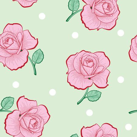 ピンクのバラとグリーンに白のドットの背景のシームレス パターン