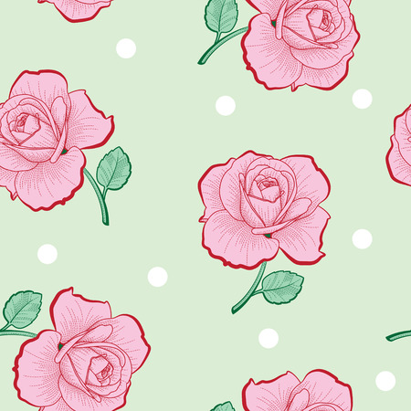 Pink roses and white dots on green background seamless pattern