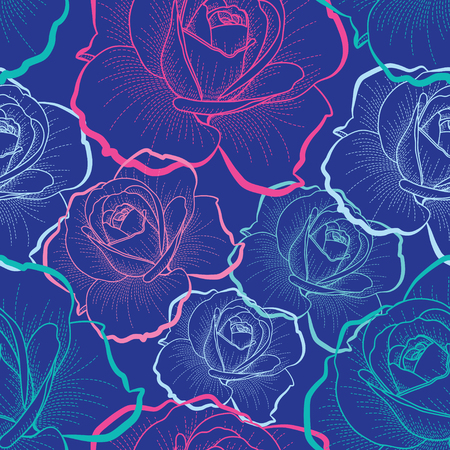 Color outline roses on blue background seamless pattern Ilustracja