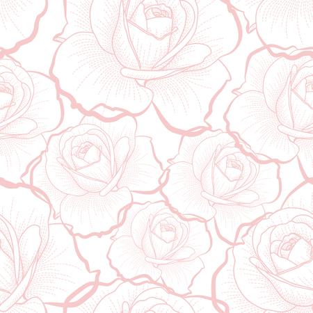 白い背景のシームレスなパターンにバラをピンクの概要
