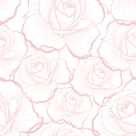 Pink outline roses on white background seamless pattern