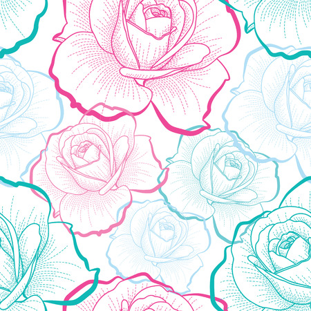 Red, green, blue outline roses on white background seamless pattern