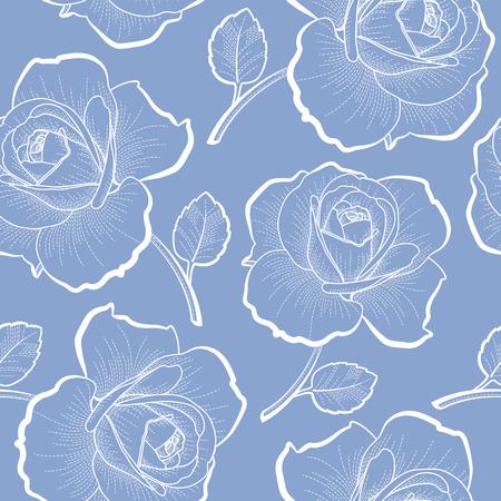 青色の背景のシームレスなパターンのアウトラインを白バラ