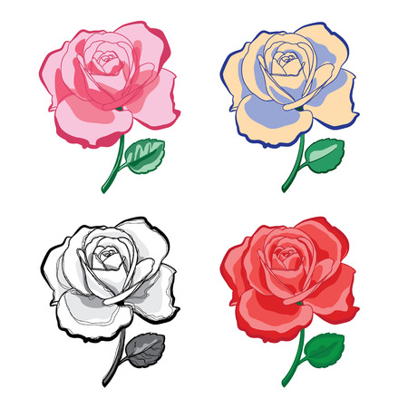 Illustration set of color artistic drawing roses for print and design Stock Illustratie