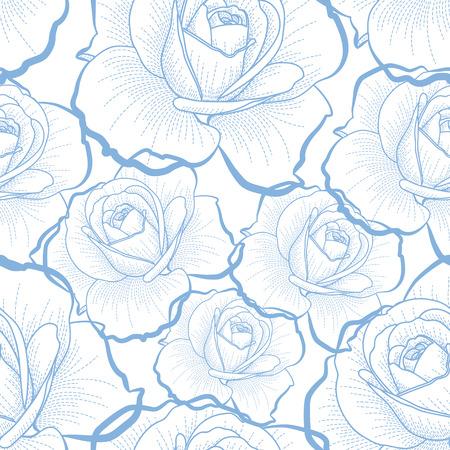 白い背景のシームレスなパターンに青のアウトラインのバラ  イラスト・ベクター素材