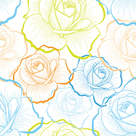 白い背景のシームレスなパターンに色概要バラ