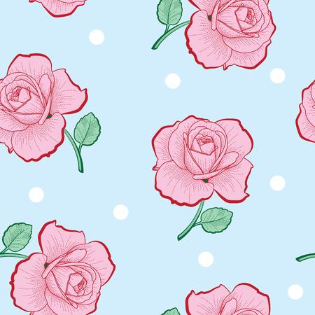 ピンクのバラと青い背景のシームレスなパターンに白いドット  イラスト・ベクター素材