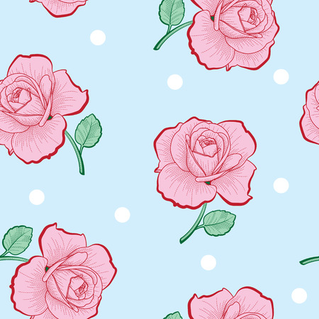 Pink roses and white dots on blue background seamless pattern Stock Illustratie