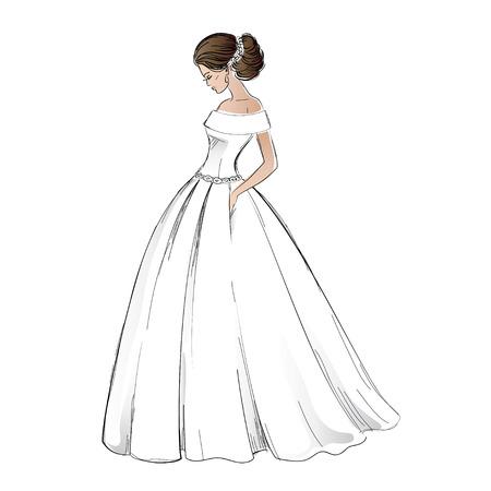 かなり髪のスタイルのウェディング ドレスの若い花嫁モデルのスケッチ。 白で隔離フリーハンドの図