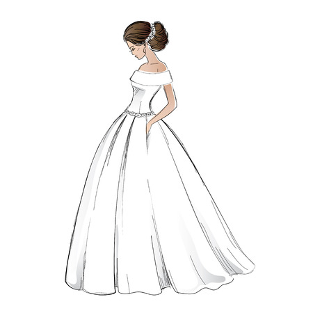 Sketch of young bride model in wedding dress with pretty hair style.  Freehand illustration isolated on white