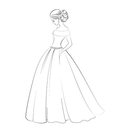 かなり若い女性白で隔離、エレガントなヘアー スタイルのウェディング ドレスの花嫁モデルの輪郭図  イラスト・ベクター素材
