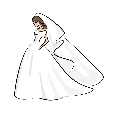Abstract outline color illustration of a young elegant bride in wedding dress with veil over her head. Sketch illustration for your design Stock Illustratie