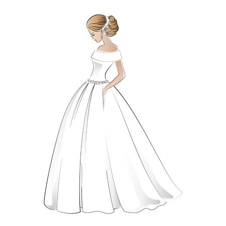 Braut im Brautkleid mit ziemlich Illustration Frisur isoliert auf weißem Standard-Bild - 60400602