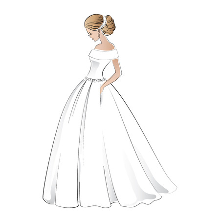 bride in wedding dress with pretty hair style illustration isolated on white