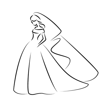 Abstract outline illustration of a young elegant bride in wedding dress with veil over her head. Sketch illustration or for your design