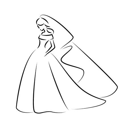 Abstrakte Umrissillustration einer jungen eleganten Braut im Hochzeitskleid mit Schleier über ihrem Kopf. Skizzieren Sie Illustration oder für Ihr Design