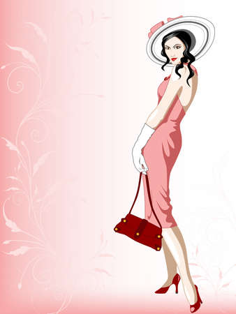 girl in red dress: The woman in a hat on a pink background with a decorative pattern