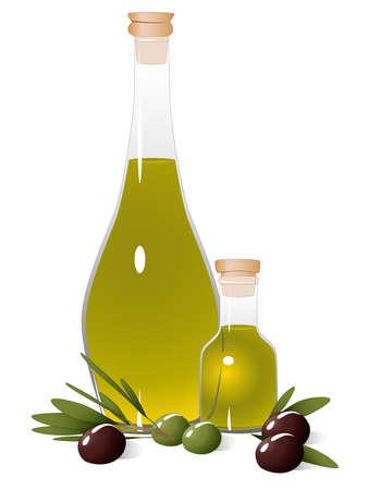 aceite de cocina: Botella con aceite de oliva, la rama de oliva y aceitunas de