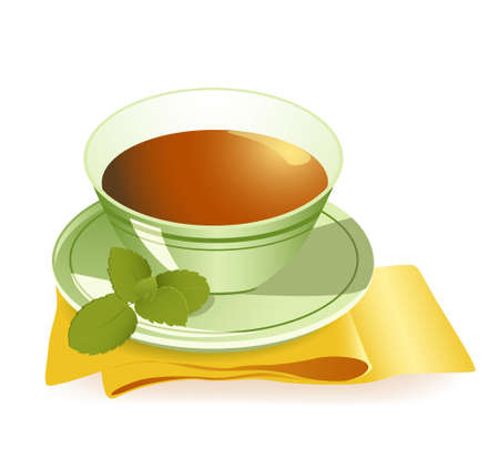 serviette: cup of tea with a dish and leaves of mint on a yellow serviette