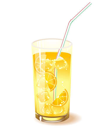 glass with drink, orange and ice isolated on a white background