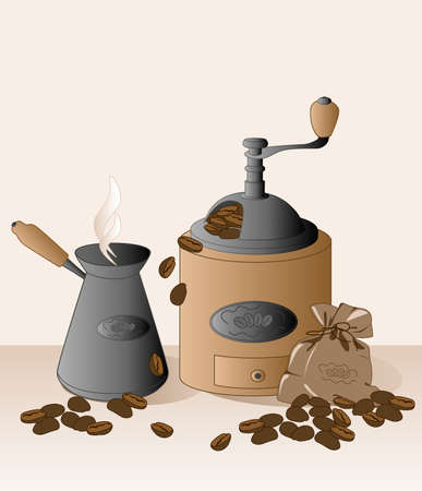 grinder: coffee grinder, cezve, coffee beans and bag