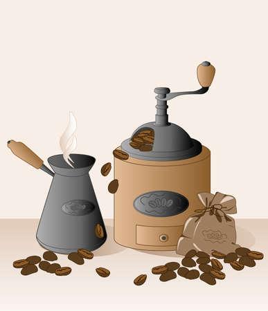 meuleuse: moulin � caf�, cezve, grains de caf� et de sac Illustration