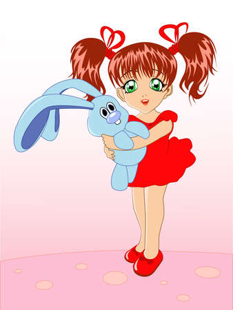 little girl with a toy rabbit in hands on a pink background Illustration
