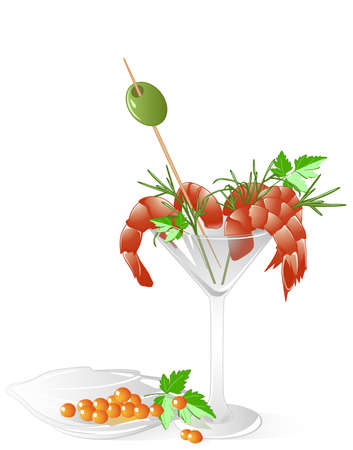 shrimps and red caviar  in a crystal tableware with leaves of parsley, olive and dill Vector