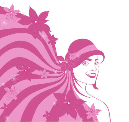 girl in a hat in autumn with red flowers Vector