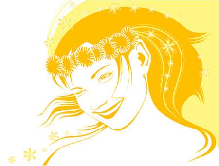 chaplet: girl in a chaplet from dandelions  in summer in yellow tones