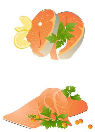 fresh salmon pieces with lemon on white background