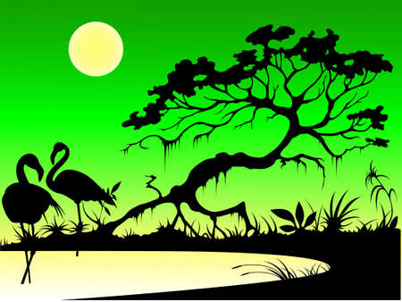 silhouettes of flamingo, tree and moon on a lake in the evening