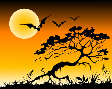 halloween background with bats and silhouette of tree by moon night Vector