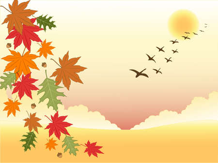 autumn background with falling leaves and flying birds Vector