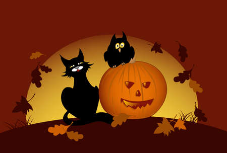 halloween pumpkin, owl and black cat by moon night Vector