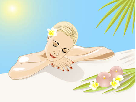rustend meisje in zwembad met bloemen en palmbladen
