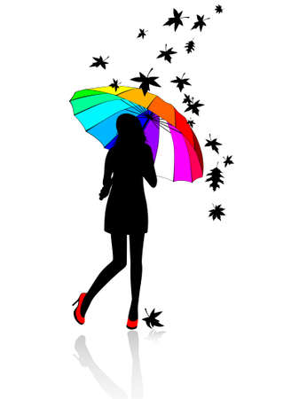 rainbow umbrella: girl under an umbrella and falling off leaves in autumn Illustration