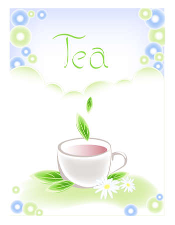 camomile tea: background with cup of tea, camomiles and green leaves