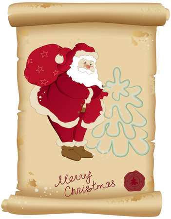 Santa Claus and bag with gifts on the old scroll of paper Stock Vector - 5776455