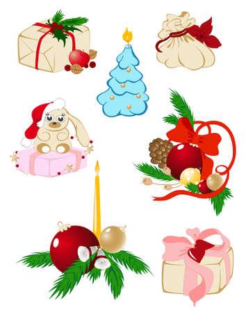 pine apple: set of vector christmas icons Illustration
