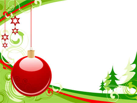 Christmas background with red ball, green firs and ornaments