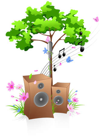 batterfly: Music background with green tree, flowers and batterfly Illustration
