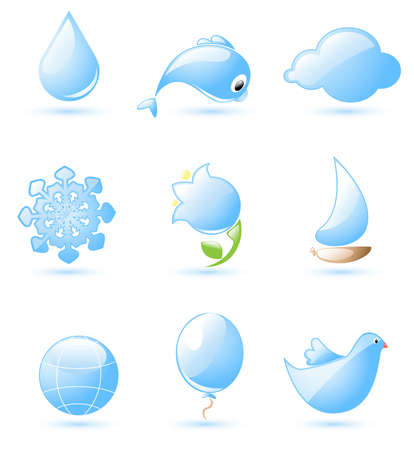 bellflower: Collection of glossy blue nature icons with drop shadow
