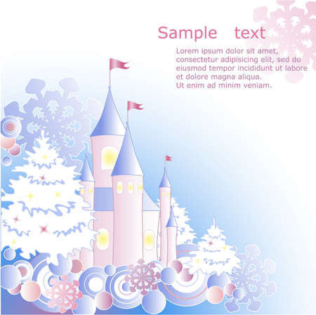 Christmas background with firs, castle and snowflakes Vector